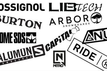 Afbeelding met diverse snowboard merken